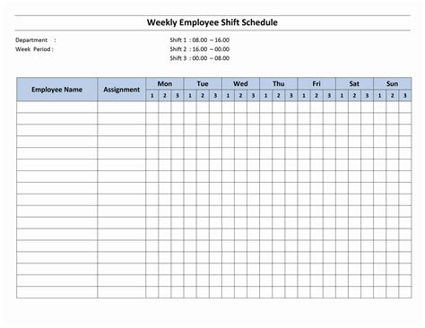 free monthly work schedule template weekly employee 8