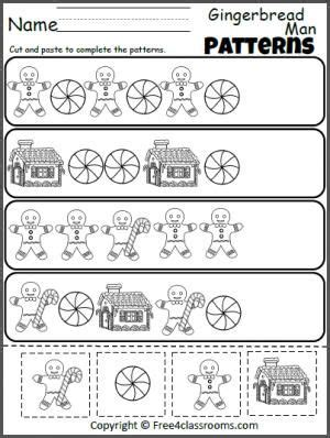 winter pattern activities free gingerbread man patterns cut and paste worksheet fun
