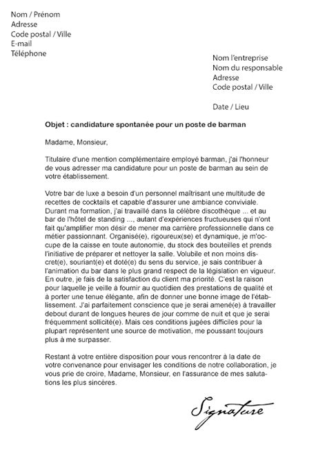 Lettre De Motivation Cqp Barman lettre de motivation barman mod 232 le de lettre