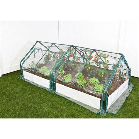 Frame It All Raised Garden Bed Kit Frame It All 4 Ft X 8 Ft X 16 In White Composite Raised Garden Bed Kit With Two Greenhouses