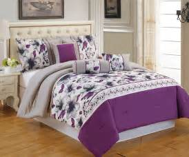 Details about 7 piece king ellaville purple gray comforter set