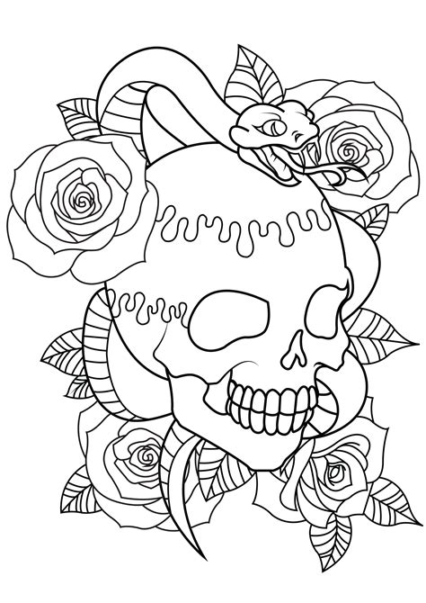 with skull snake and roses tattoos