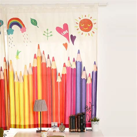 colorful curtains for kids modern style colorful pencil printed pattern curtains for