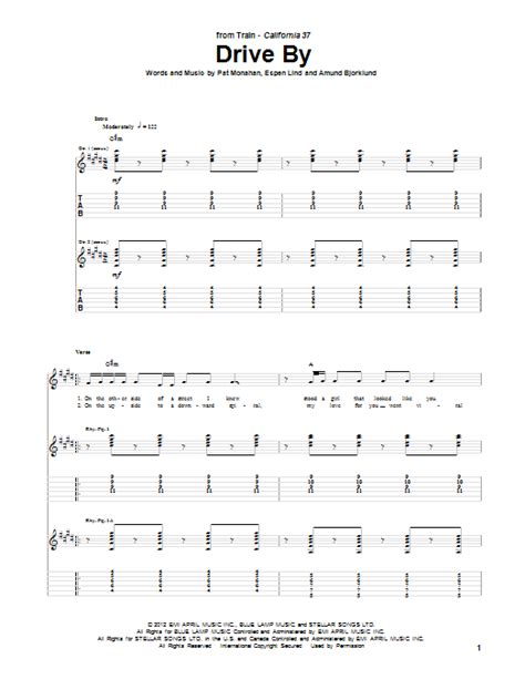 Drive By Chord | drive by by train guitar tab guitar instructor