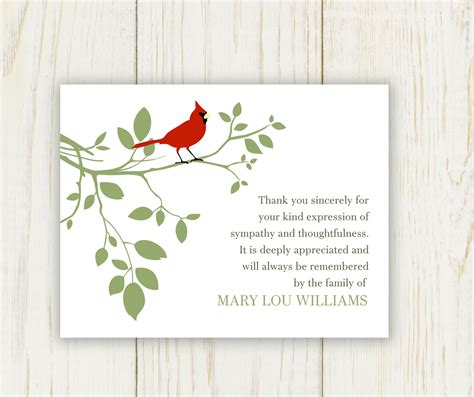 printable thank you for your sympathy cards red bird funeral thank you card digital sympathy card