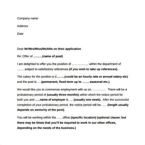 Offer Letter No Contract Sle Employment Letter 13 Free Documents In Word Pdf