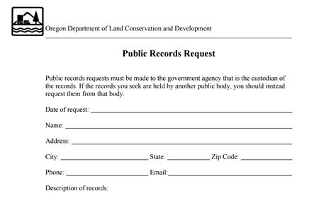 Records Request Form Records Request Form Oregonexplorer Oregon State