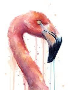 Animal Print Shower Curtains - flamingo painting watercolor facing right painting by olga shvartsur