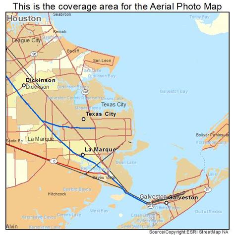 aerial photography map of texas city tx texas