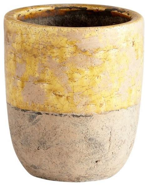 Yellow Ceramic Planter by Distressed Yellow Glaze Ceramic Carver Planter Small