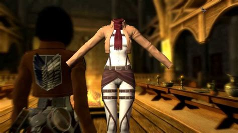 mod game attack on titan or hack skyrim attack on titan mikasa mod youtube