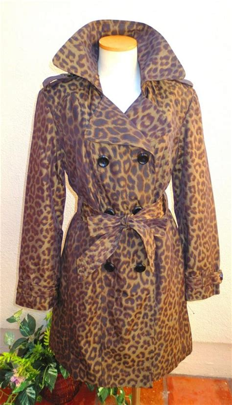 Found A Saucy Leopard Trench Coat by Fog Womens Leopard Breasted Trench Coat