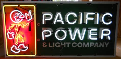 pacific power and light company neon antique porcelain signs