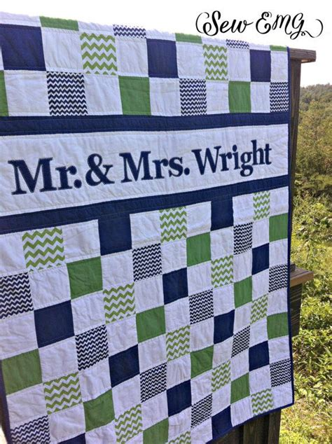 Wedding Quilt Patterns by Patchwork Monogram Wedding Name Quilt Made To Order