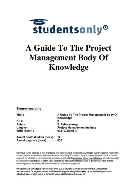 a guide to the project management of knowledge pmbok guide sixth edition edition books samenvatting a guide to the project management of
