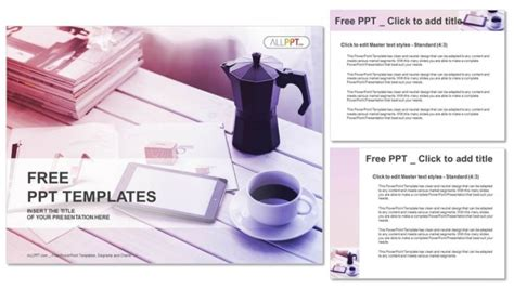 free download ppt themes coffee cup of coffee and smartphone computer powerpoint templates