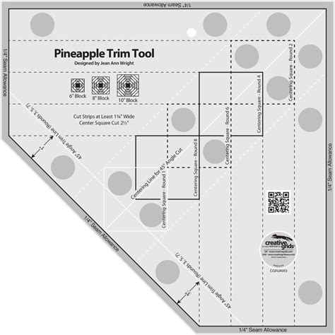 Creative Grids Pineapple Trim Tool Quilting Template Ruler Creative Grids Pineapple Trim Tool Sewing And Quilting Ruler Ebay