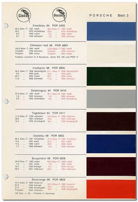 pca 912 912e register porsche special order paint colors 1964 1969 1976