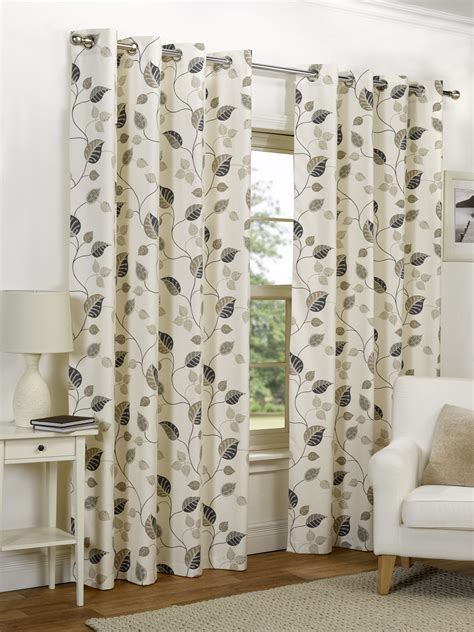 leaf pattern curtain material ready made curtains fully lined eyelet ring top all sizes