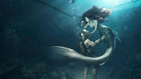 the mermaid diver and the mermaid wallpapers hd wallpapers id 13884