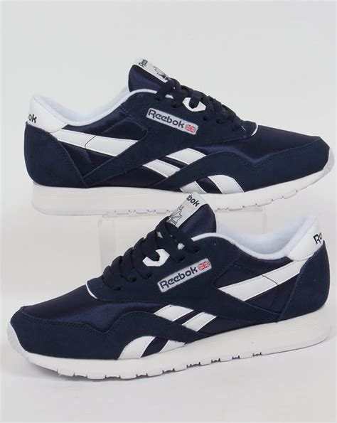 reebok classic trainers navy white shoes mens