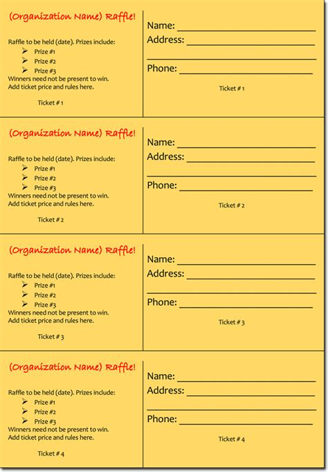 20 Free Raffle Ticket Templates With Automate Ticket Numbering Free Editable Raffle Ticket Template