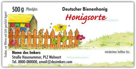 Etiketten Honig by Bienendruckerei Honigglas Etikett Motiv 028