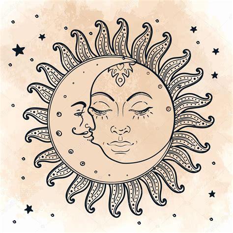imagenes del sol y luna juntos sun and moon illustration in vintage style stock