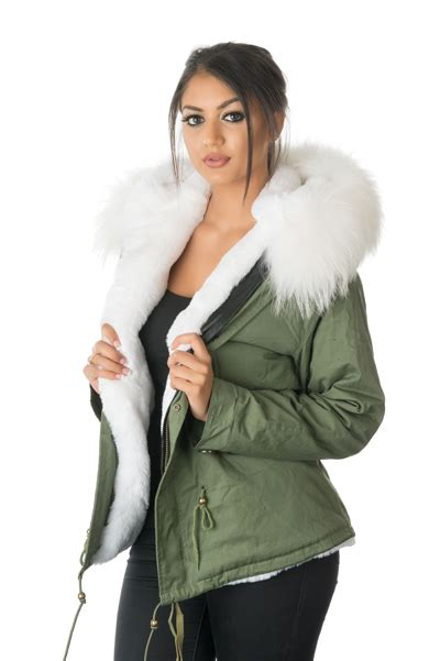 Parka Jaket By Salsabila Colection white fur lined coat jacketin