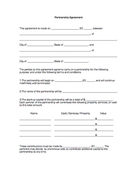 partner agreement template partnership agreement free printable documents