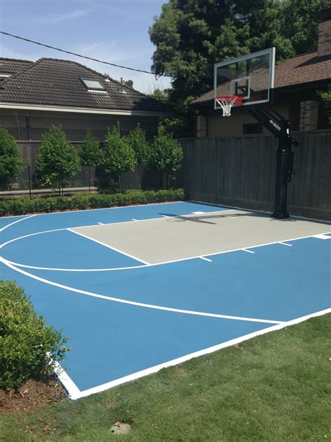 outdoor basketball court this pro dunk platinum basketball goal sits over a painted