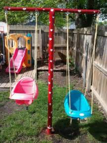 Clotheslines For Small Backyards Swing Set Made Out Of Clothesline Poles Outdoor Fun