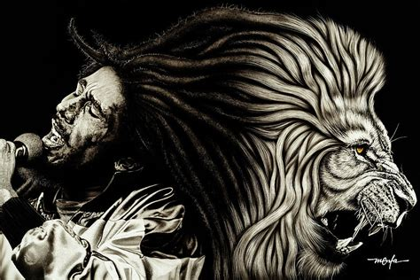 Lion Curtains Lion Heart Bob Marley Painting By Dan Menta