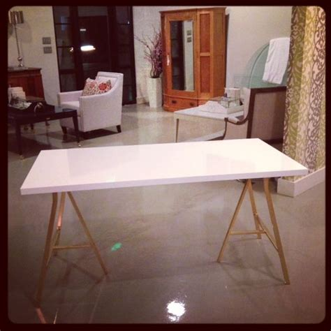 desk with gold legs ikea hack glossy white desk w metallic gold legs on white