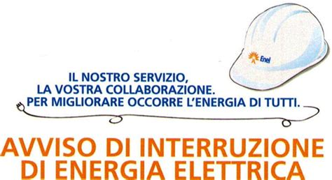enel energia orari uffici avviso di interruzione di energia elettrica comune di