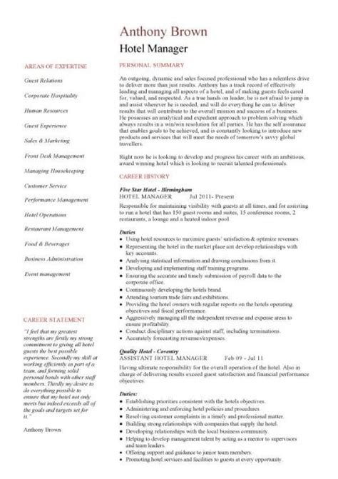 Resume Summary Exles Hospitality Sle Resume For Hotel Gallery Creawizard