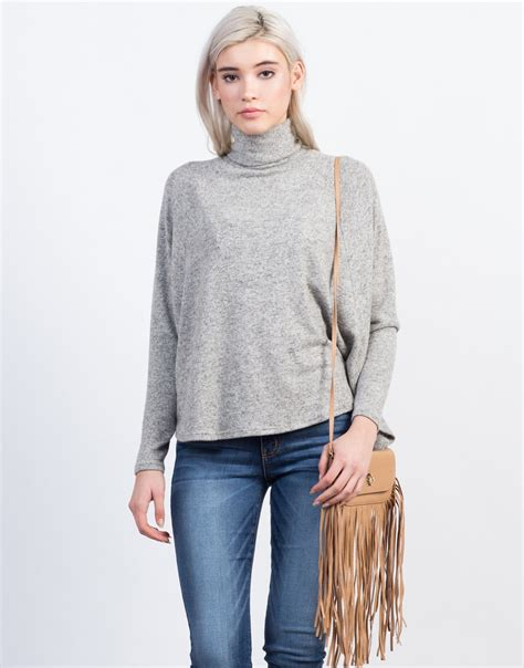 Cs708 Top Turtle V Line Grey flowy turtleneck top grey shirt cowl neck top 2020ave