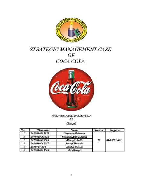 Coca Cola Mba Rotational Program by Strategic Management Coca Cola Coca Cola The