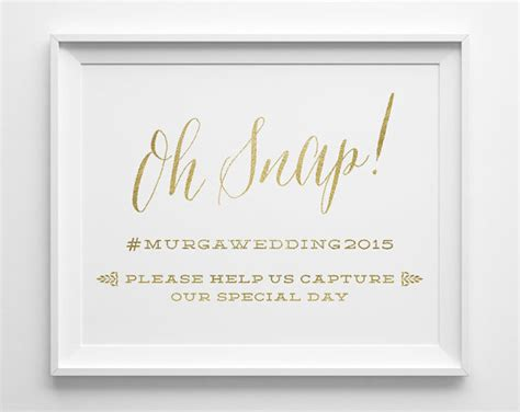 Wedding Hashtag Cards by Wedding Signs Oh Snap Hashtag Social Media Wedding Sign