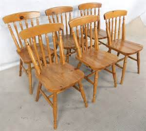 Pine Dining Chairs Uk Set Of Six Antique Style Pine Kitchen Dining Chairs Sold