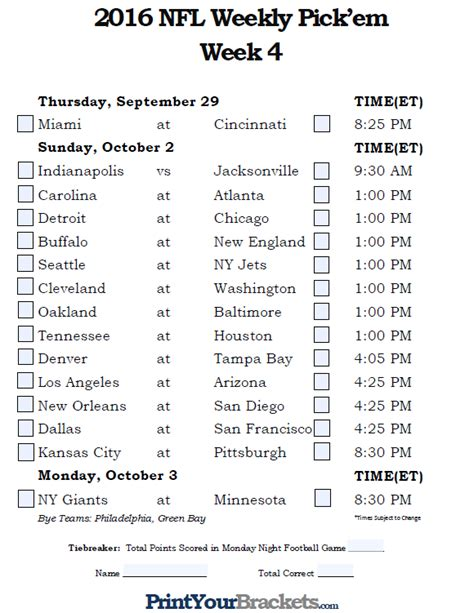 pick sheets nfl schedule excel autos post