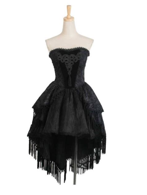 pattern gothic dress black floral pattern tassel high low gothic party dress