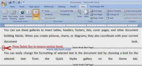 how to remove a section break how to insert or remove or types of section breaks in ms word