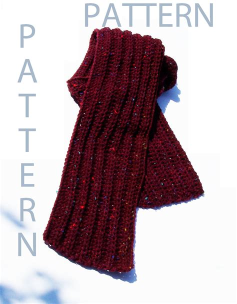 pattern simple scarf easy ribbed crochet scarf pattern by evelynsstuff on etsy