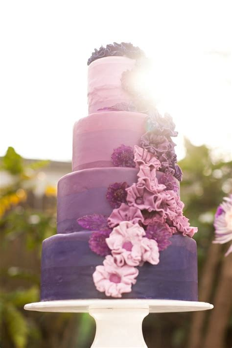 wedding cake of the day pink ombr flower wedding cake purple wedding cake a wedding cake blog