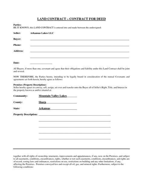 simple yet best blank land contract form for deed with