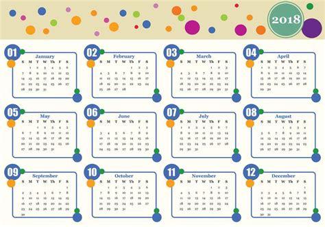 Calendario Mensual 2018 Vector De La Plantilla De Calendario Mensual Imprimible
