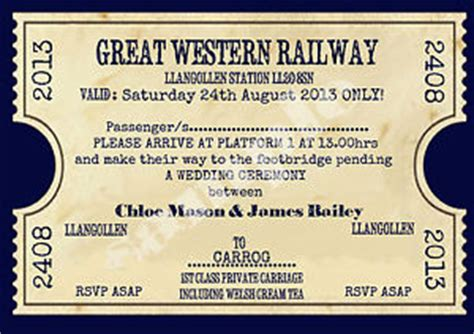 printable train tickets uk personalised vintage train ticket wedding invitations sold