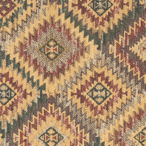 rustic upholstery fabric gold green grey and burgundy diamond southwest