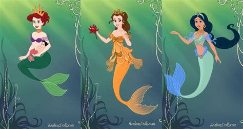 Disney Princess Mermaids 2 By Bigpinkbow197 On Deviantart Pictures Of Disney Princesses As Mermaids